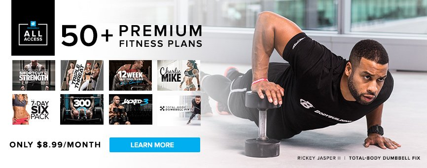 Access your true potential with over 45 premium fitness plans, only $8.99/month!