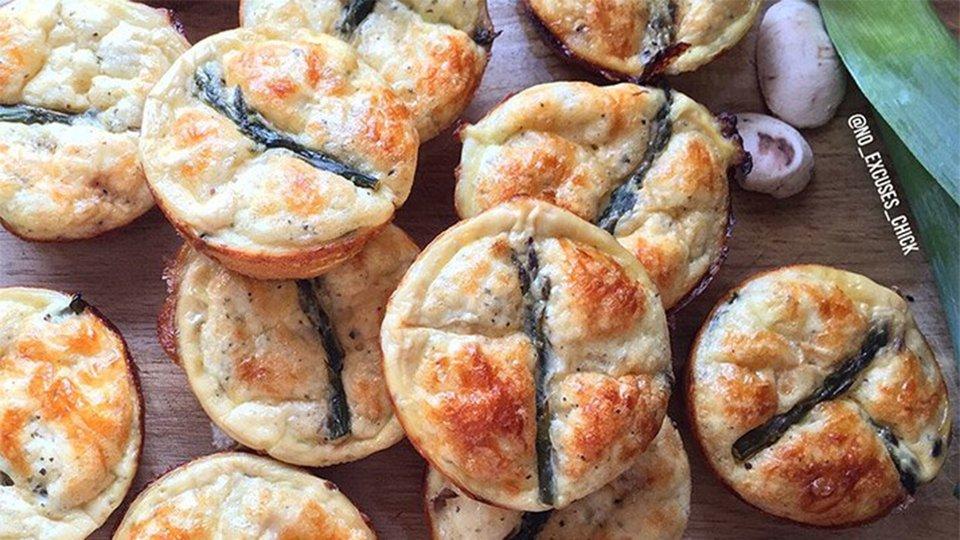 Mozzarella, Asparagus, And Leek Mini-Quiches