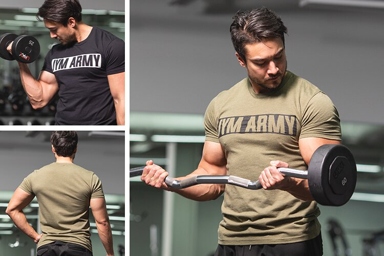 JYM Army Tee worn in the gym
