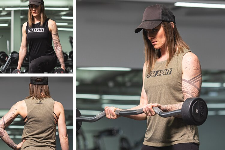 JYM Army Women's Tank top as seen worn in the gym