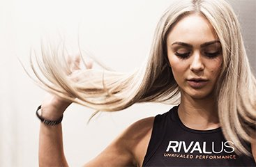 Female athlete flipping her hair