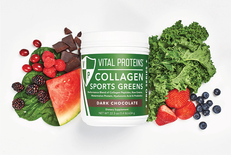 Collagen Sports Greens Container with Fruits & Veggies