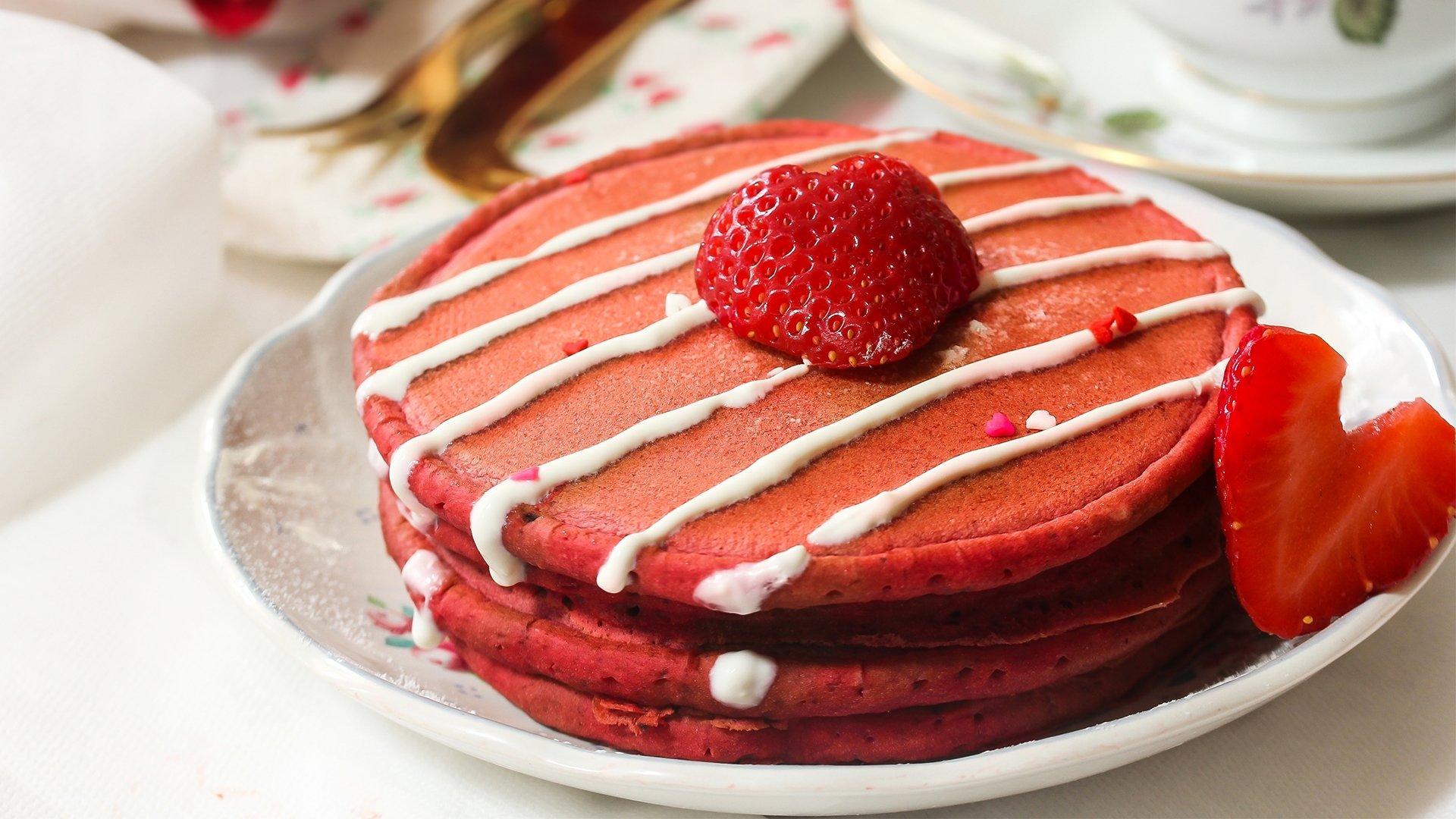 Valentine's Day Red Velvet Pancakes