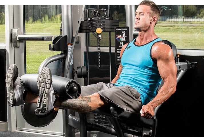 I recommend doing one or two warm-up sets of leg extensions before starting any other leg exercise. Keep the weight fairly light and complete 20 to 30 slow, controlled reps.