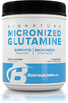 Bodybuilding.com Signature Micronized Glutamine tub