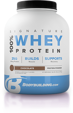 Bodybuilding.com Signature 100% Whey Protein tub