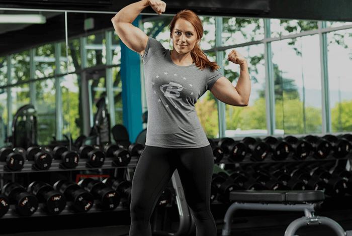 Female Athlete Flexing