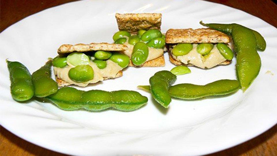 Edamame, Hummus, Whole-Grain Crackers
