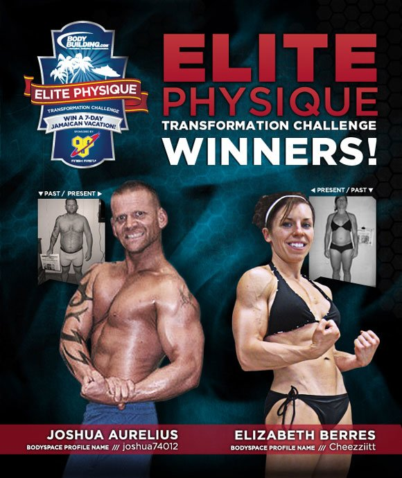 September 2011 BSN ELITE PHYSIQUE Transformation Challenge Winners Joshua Aurelius & Elizabeth Berres!