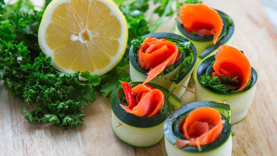 Zucchini Smoked Fish Rolls